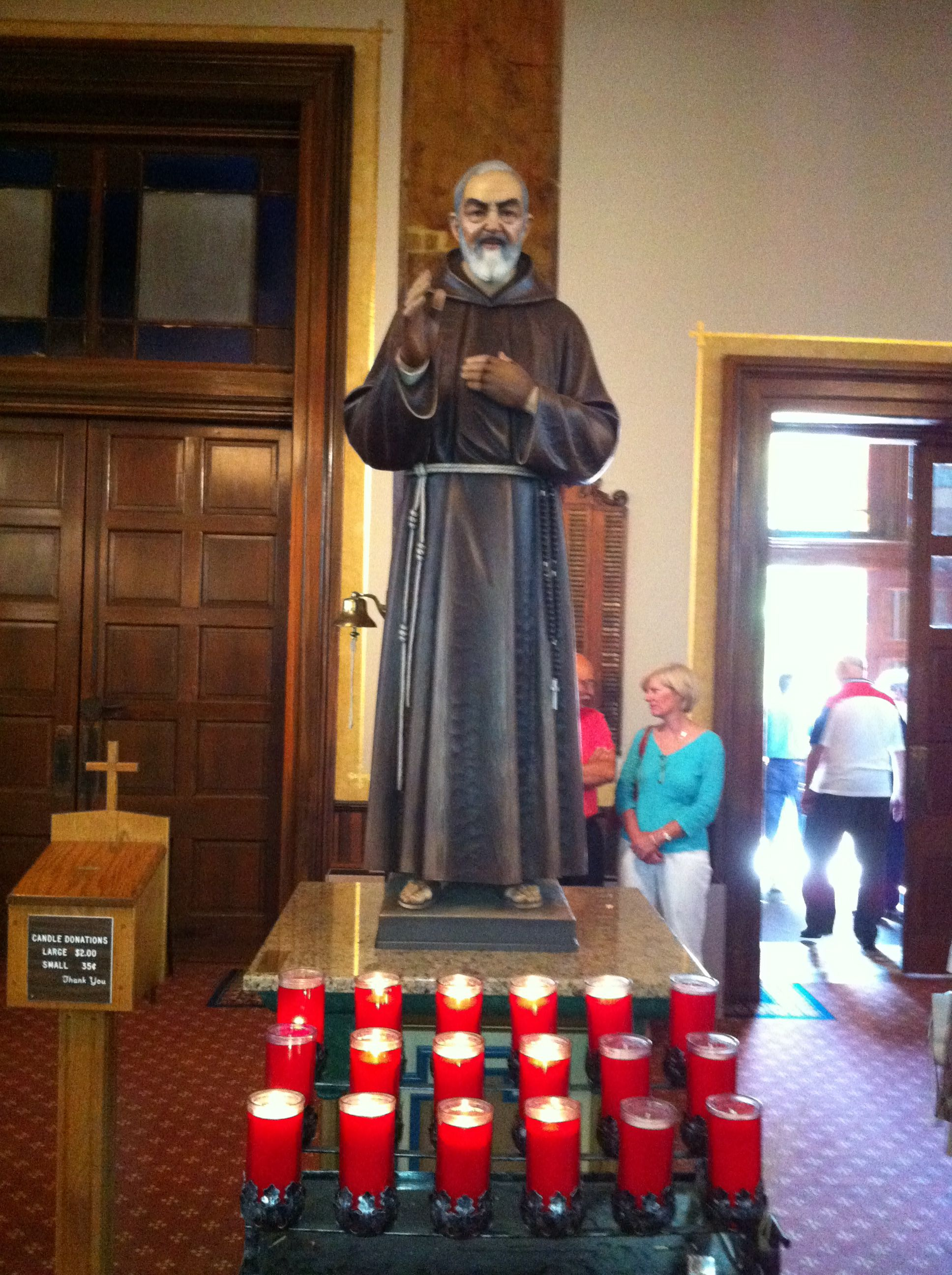 Statue of St. Pio at the Shrine of St. Joseph, where they possess one of his relics for veneration  (Joe Cruz photo).