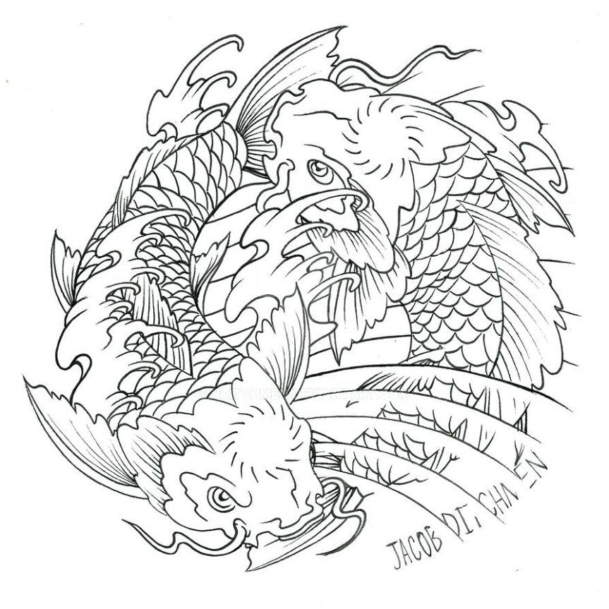 Coloring Pages Yin Yang Commission By Japanese Koi Fish Tattoo Design Lucky Choice Outline Sleeve Designs Mesmerizing