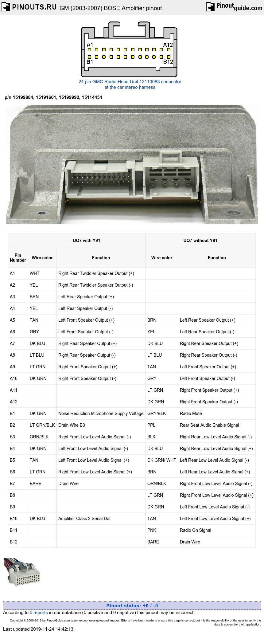 Gm 2003 2007 Bose Amplifier Pinout Diagram Pinoutguide Bose Car Amplifier Amplifier