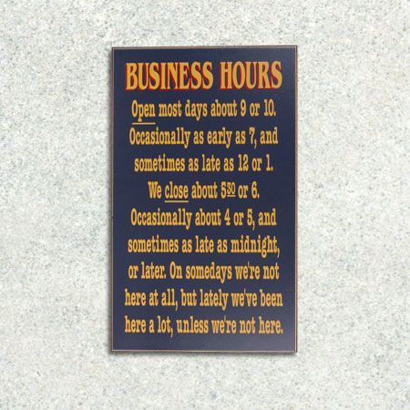 Business Hours Wooden Sign, Funny Novelty Office Decor, Humorous Gag Wall  Plaque