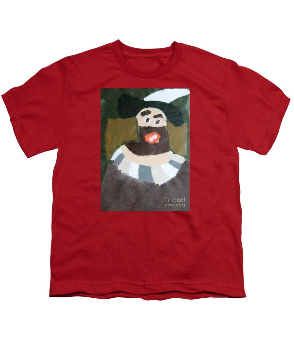Patrick Francis Red Designer Youth T-Shirt featuring the painting Rembrandt 2014 - After Rembrandt Self-portrait by Patrick Francis