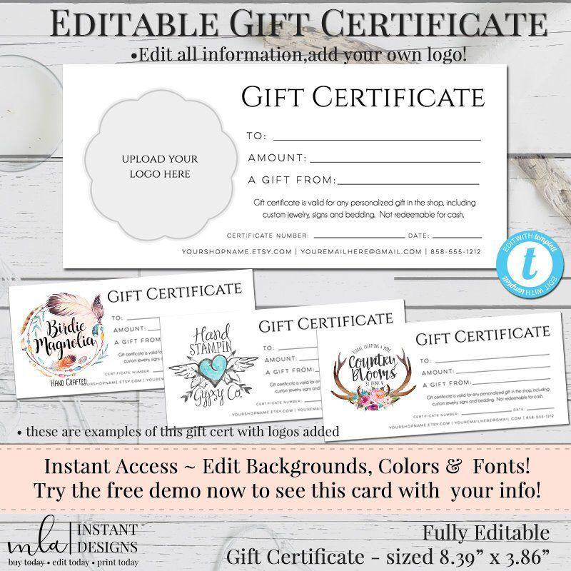 Gift Certificate Template, DIY Gift Certificate, Store