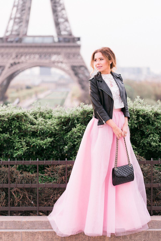 Pink maxi tulle skirt in paris eiffel tower claudia