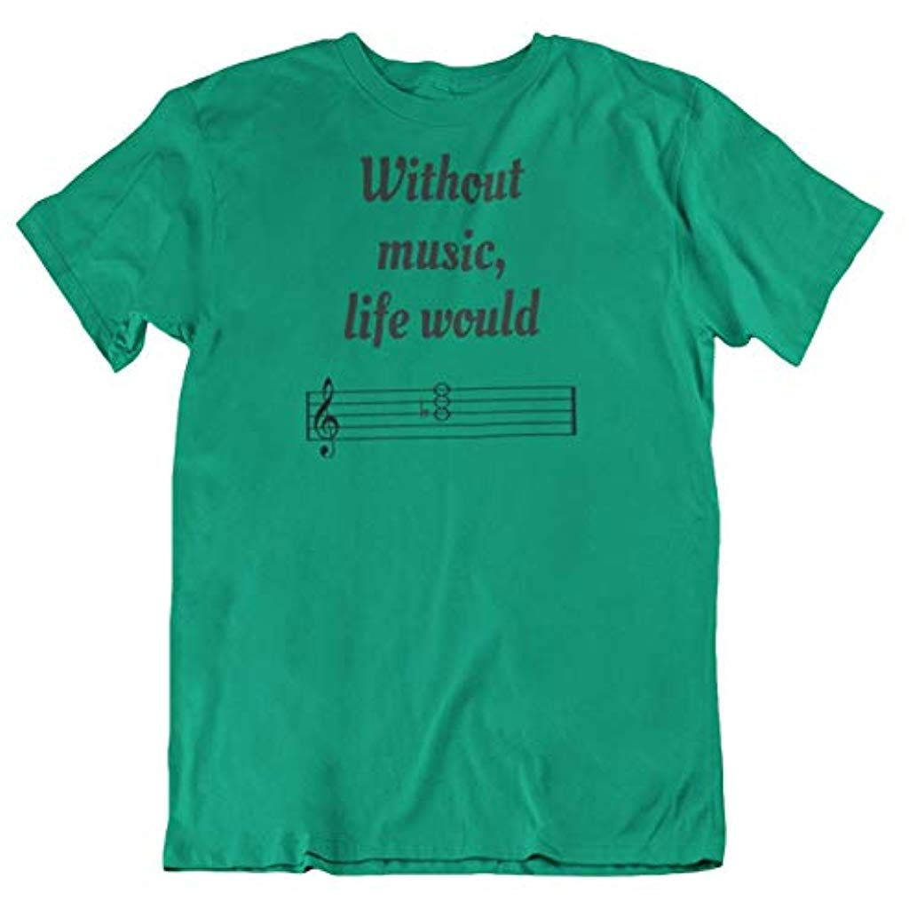 Make Your Mark Design Without Music Life Would Be Flat Musical Noten-T-Shirt Ges… – Shopping Angebote