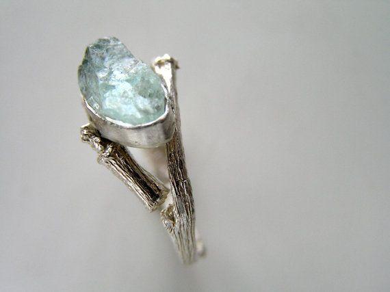Twig raw aquamarine necklace Sterling silver