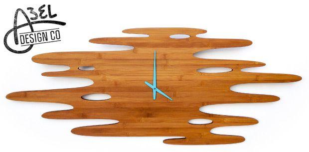 Bamboo Water Clock Aqua Dial 46 X19 Www Abeldesigncompany Com Water Clock Design Surf Art