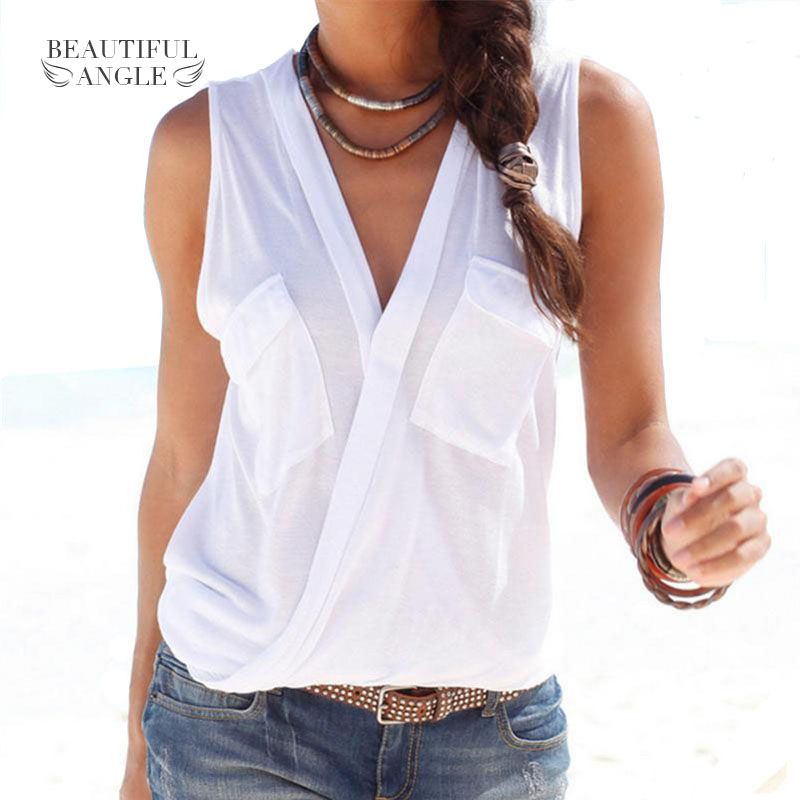 53f8004ded24 Fashion 2018 Hot Summer Women Vest Top Sleeveless Patch Pocket Blouse  Casual Tank Tops T-Shirt Cover up Femme Blusas Price  15.44   FREE Shipping   happy