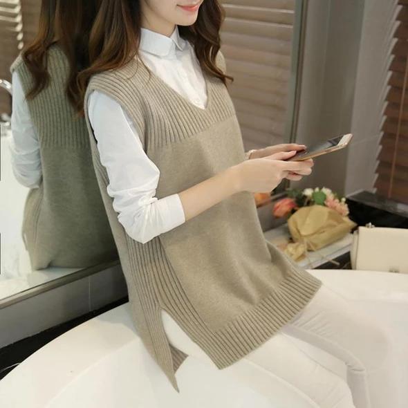 2018 Nouvelle Arrivée Automne et Hiver Femmes Mode V-cou Tricot Gilet, Style Coréen Femelle Élégant Casual All-match Chandail Gilet   – Örgüler