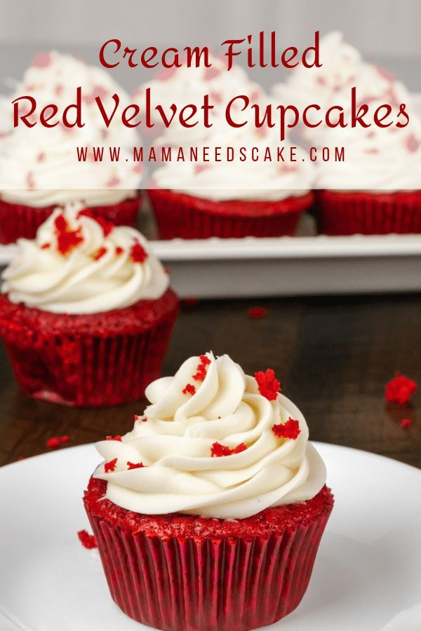Red Velvet Cupcakes (Cream Filled) - Mama Needs Cake  #redvelvet #redvelvetcupcakes #revelvetcake #dessert #cupcakes #cupcakerecipes #creamcheesefrosting #creamcheese #surpriseinsidecakes #foodblogger #sweetreats #motherday #redvelvet