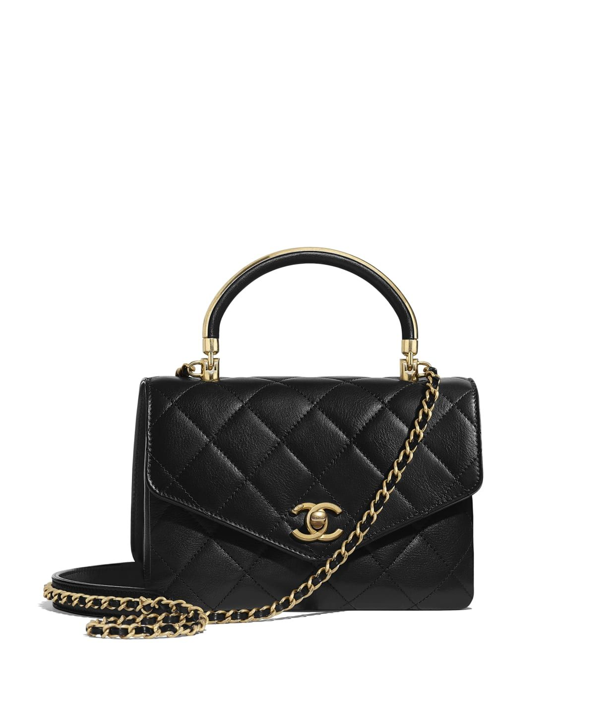 a8ed3f67c73c Discover the CHANEL Calfskin   Gold-Tone Metal Black Small Flap Bag with Top  Handle