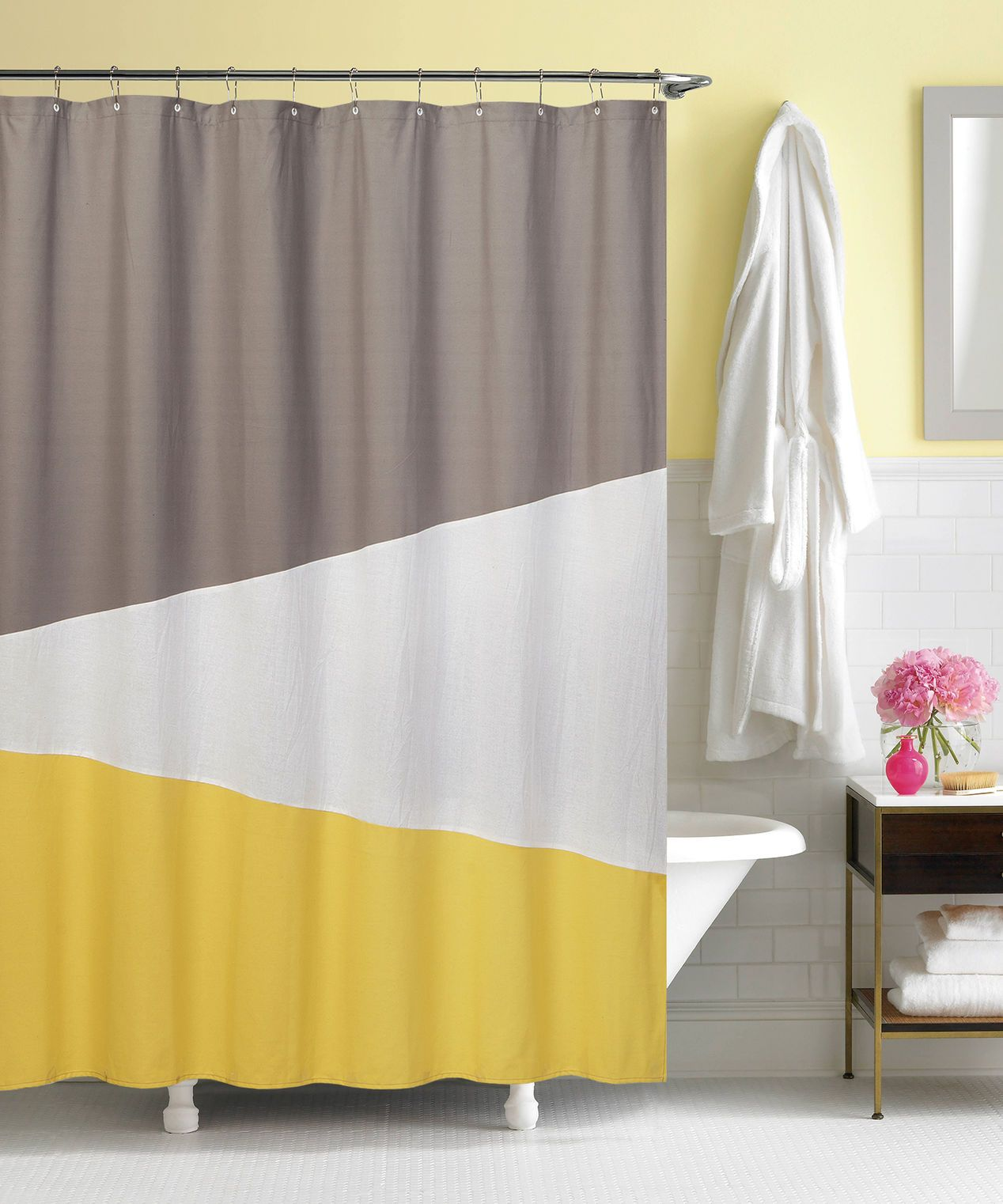 Yellow And Gray Color Block Shower Curtain