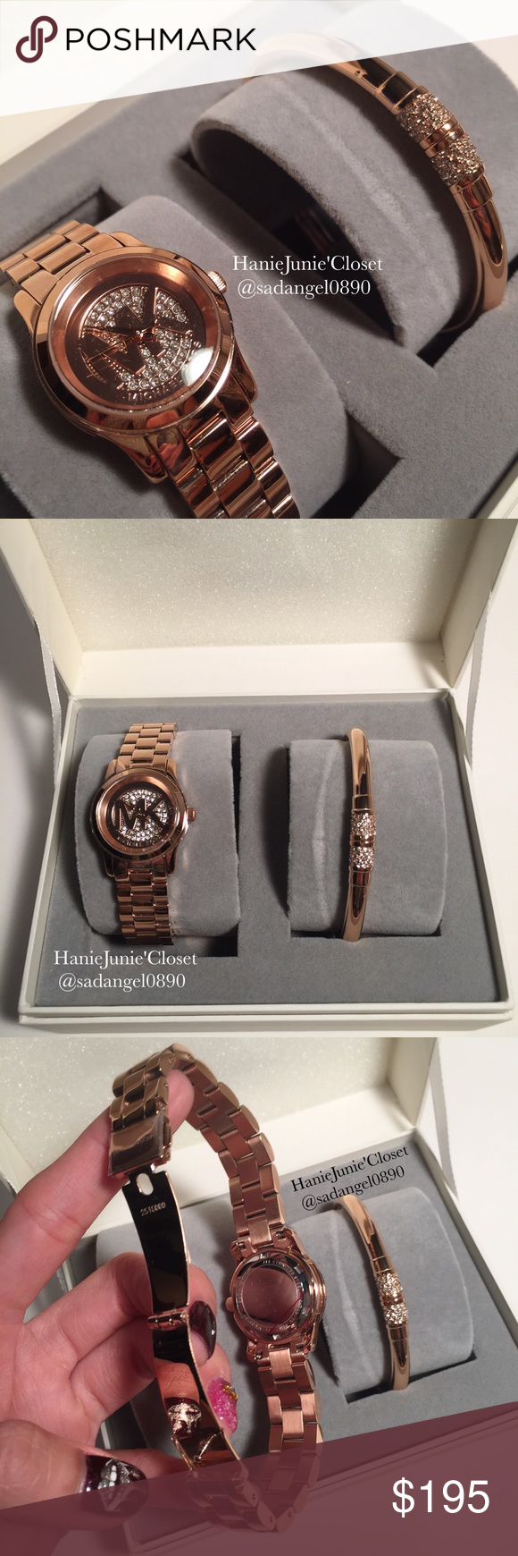 🌈🦄MICHAEL KORS ROSÉGOLD GLITZ WATCH SET ❥Color: Roségold  ❥Material: stainless steel ❥Watch case:26mm, bracelet: one size, magnet lock.  ❥Real photo 📷 taken from me ❥Brand new✨, never used. 100% authentic  ❥Pack with care📦and ship✈️right away ❥Freegift🎁included with purchase $100+ ❥🚫TRADE🚫HOLD🚫LOWBALL ❥10% OFF FOR BUNDLES ❥REASONABLE OFFERS WILL BE ACCEPTED. Follow me on IG: @hanie.junie Michael Kors Accessories Watches