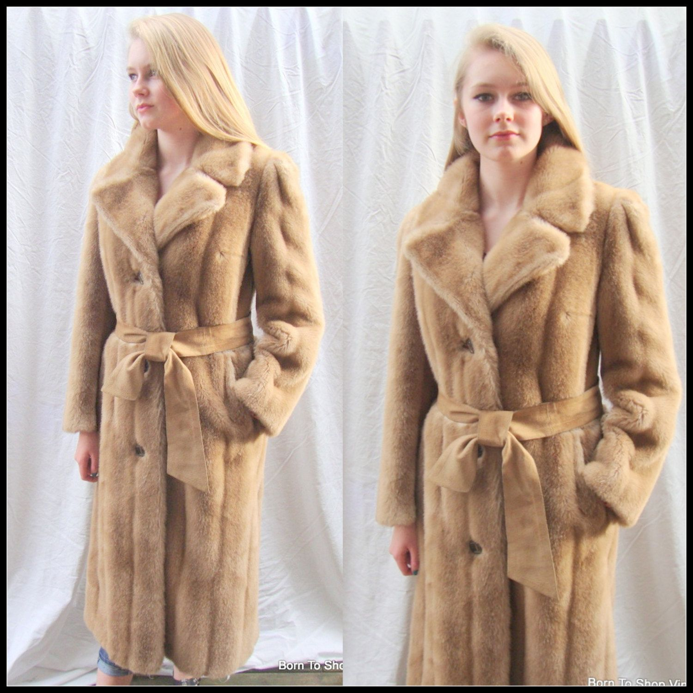 Vintage faux fur mink coat, honey brown, full length, vegan fur ...