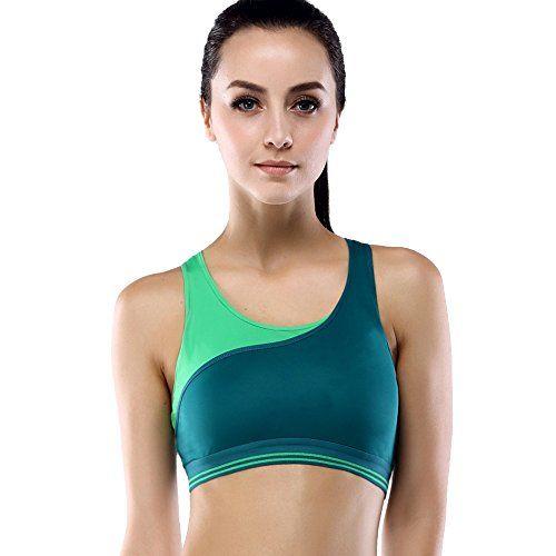 5541af7d2d Yvette Women High Impact Contrast Color Running Racerback Sports Bra   080161