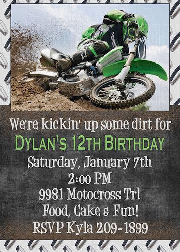 Print your own kickin dirt motocross dirt bike birthday print your own kickin dirt motocross dirt bike birthday invitations options ebay filmwisefo