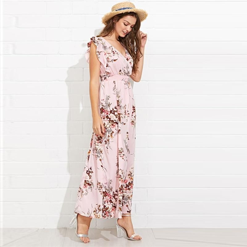 3a087bbcea Elegant Ruffle Cap Sleeve Embellished Shirred Waist Floral Maxi Dress