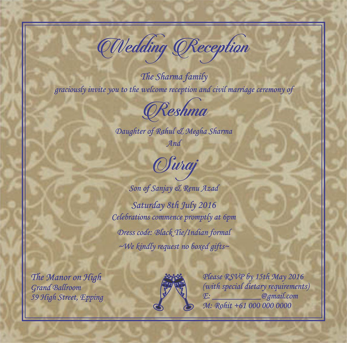 Wedding Invitation Wording For Reception Ceremony (With