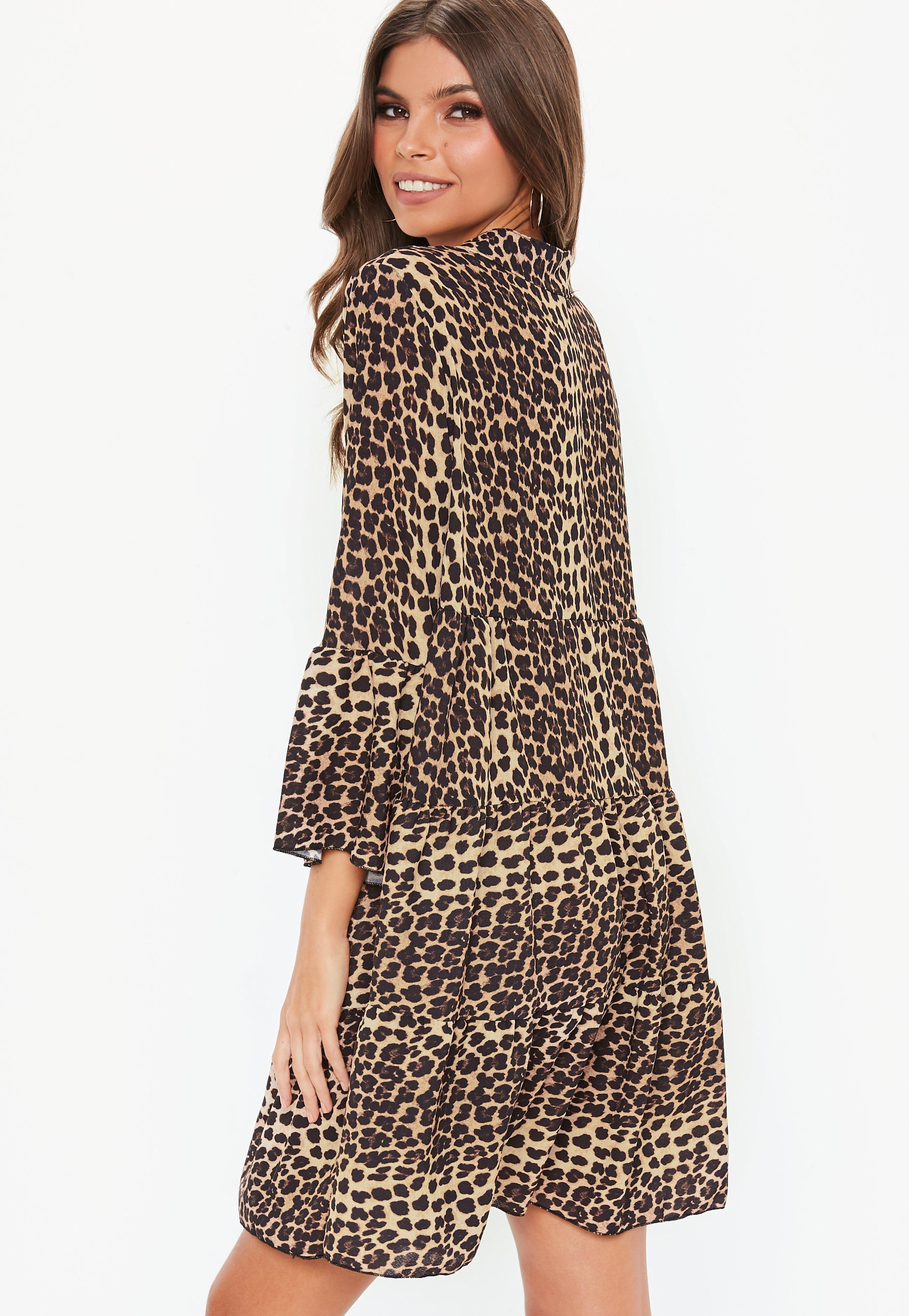 baa4130cf8c3 Brown Leopard Print Long Sleeve Smock Dress #Sponsored #Print, #SPONSORED, # Leopard, #Brown