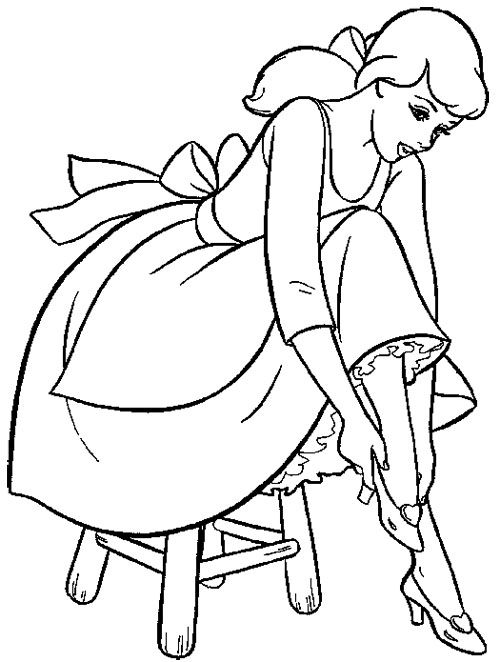 Cinderella Trying The Shoes Coloring Page Cinderella Coloring