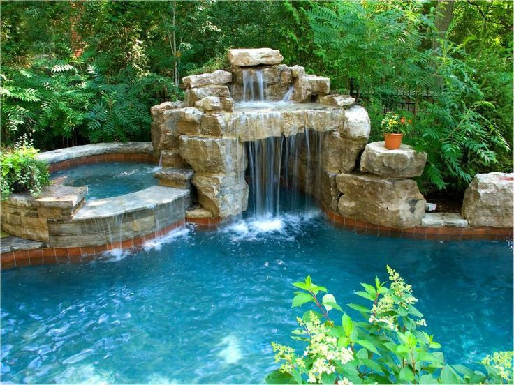 master pools guild water feature pools spas islands rocks slides - Cool Pools With Waterfalls And Slides