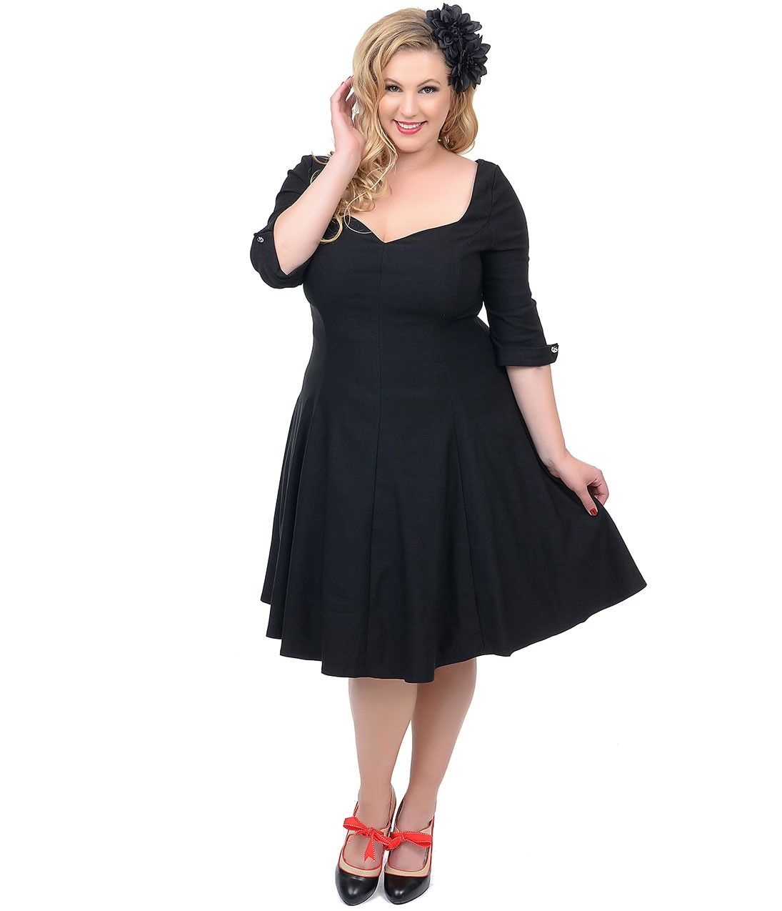 Unique vintage plus size black three quarter sleeve grace swing unique vintage plus size black three quarter sleeve grace swing dress ombrellifo Gallery