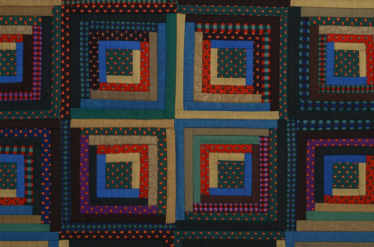 Barn Raising Log Cabin Quilt   From a unique collection of antique and modern quilts at https://www.1stdibs.com/furniture/folk-art/quilts/