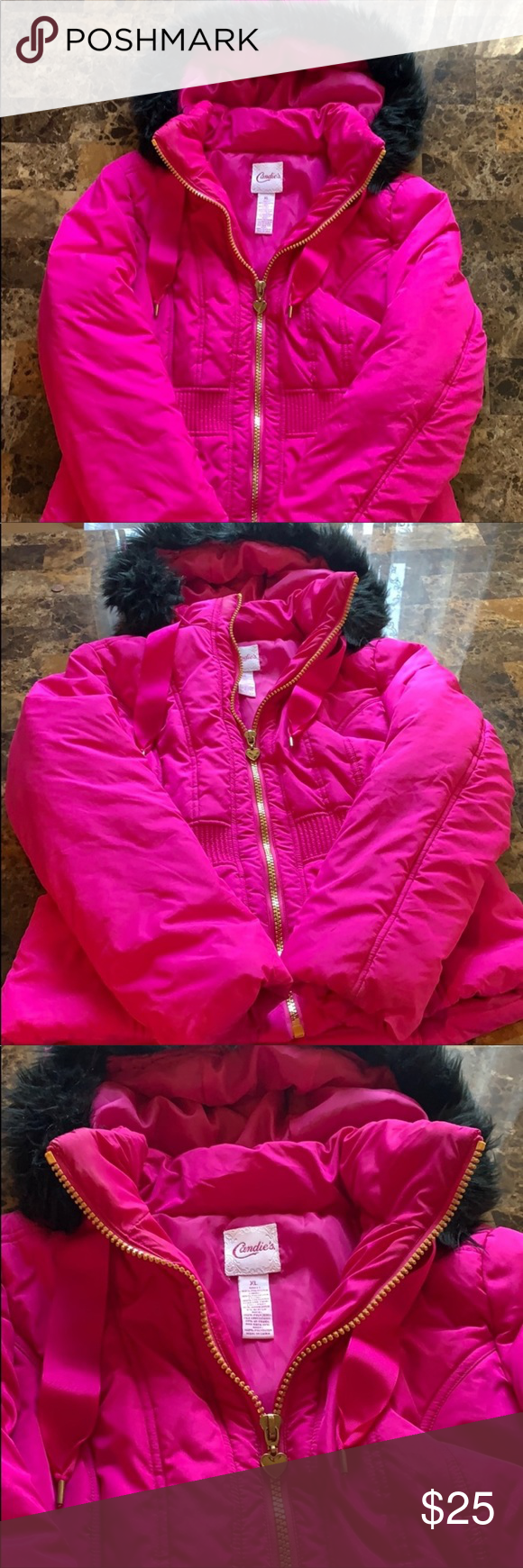 Photo of Candie's Hot Pink Winter Jacket, Juniors Size XL Candie's Hot Pink Winter Ja…