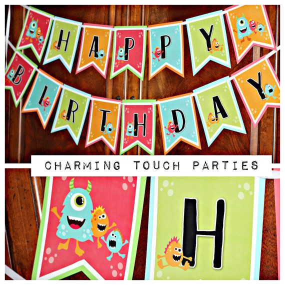 LITTLE MONSTER BIRTHDAY Party Decorations Happy Birthday Banner