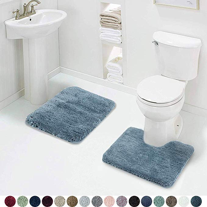 Amazon Com Walensee Shaggy 2 Piece Bath Rug Sets Slate 20 X 24 U Shape Contour Rug 20 X 32 Bathroom Rug In 2020 Bathroom Rugs And Mats Bath Rugs Sets Contour Rug