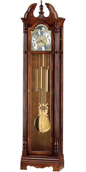 Howard Miller Jonathan Grandfather Clock In A Windsor Cherry Finish Swan Neck Pediment And Shell Overlay At Base Of Tur Grandfather Clock Clock Howard Miller