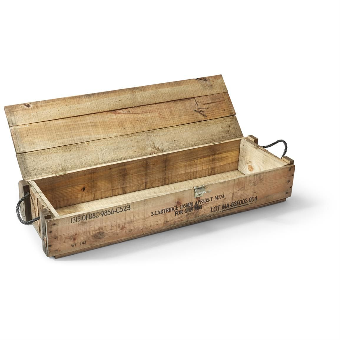 U S Military Wooden Ammo Box With Rope Handles Used Projects