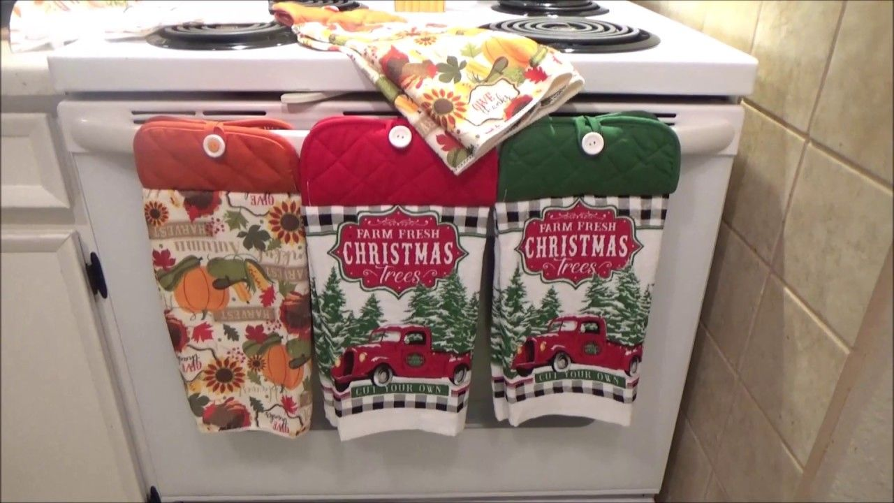 Dollar Tree General Hanging Towel Diy Red Truck And Thanksgiving In 2020 Hanging Towels Diy Towels Christmas Kitchen Towels