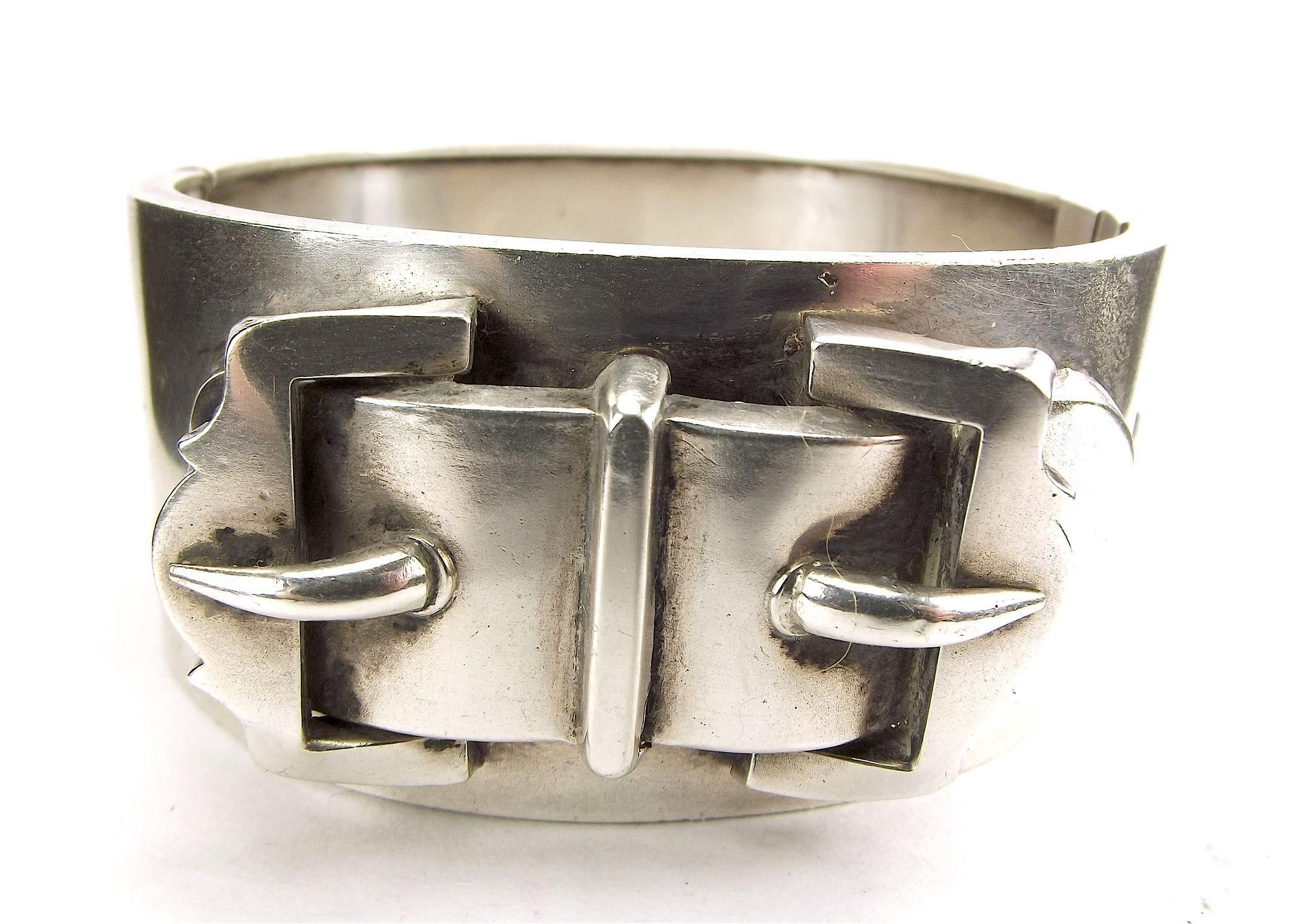 Victorian Silver CUFF Bracelet Double BUCKLE Chester 1881