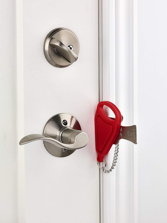 Addalock 1 Piece Portable Door Lock Travel Lock Airbnb Lock School Lockdown Lock Door Levers Amazon Com Hotel Door Locks Door Locks Travel Lock