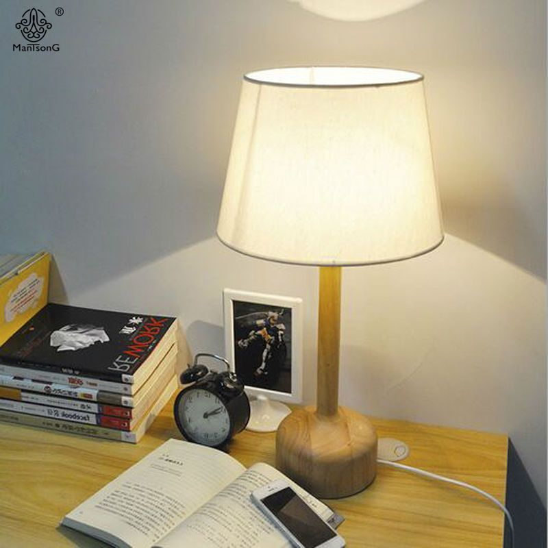 Table lamp new designer modern base fabric lampshade e27 nordic simple light wooden ac for bedroom