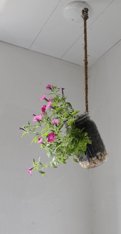 Hanging Mason Jar Planter with drainage Rocks