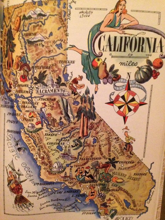 California Map Art / Old Map Illustration / Vintage Map Print