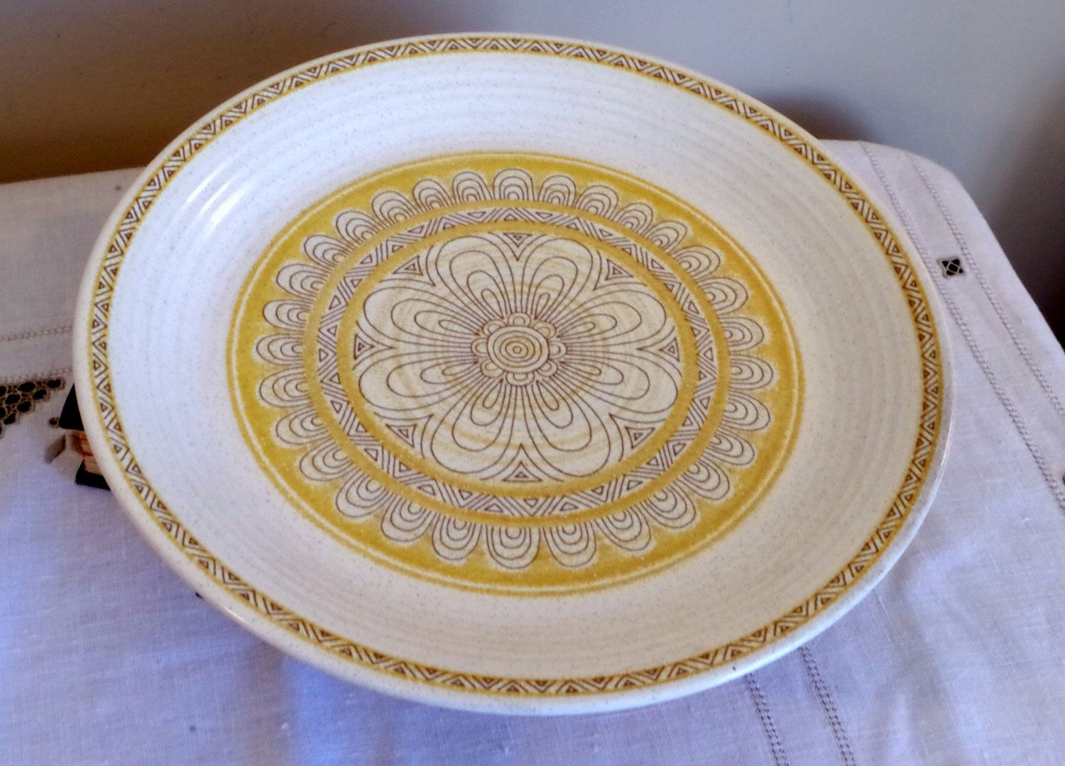 Franciscan Hacienda Dinner Plate- Earthenware California Pottery- Yellow Geometric Floral Pattern- Country Kitchen Chic by VintageByDollymae on Etsy https://www.etsy.com/listing/226971761/franciscan-hacienda-dinner-plate