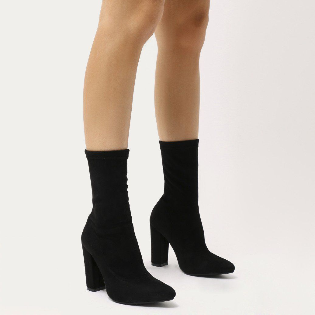 52bbc984fcd Montreal Sock Fit Ankle Boots in Black Faux Suede