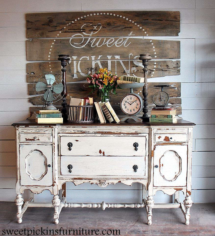 Painted buffet table furniture - Shabby Chic Chippy Chest Fabulous Vintage Sign Fixerupper Idea Wood Buffetpainted
