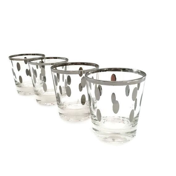 Set Of Four Whiskey Gles With Silver Rims And Polka Dots The