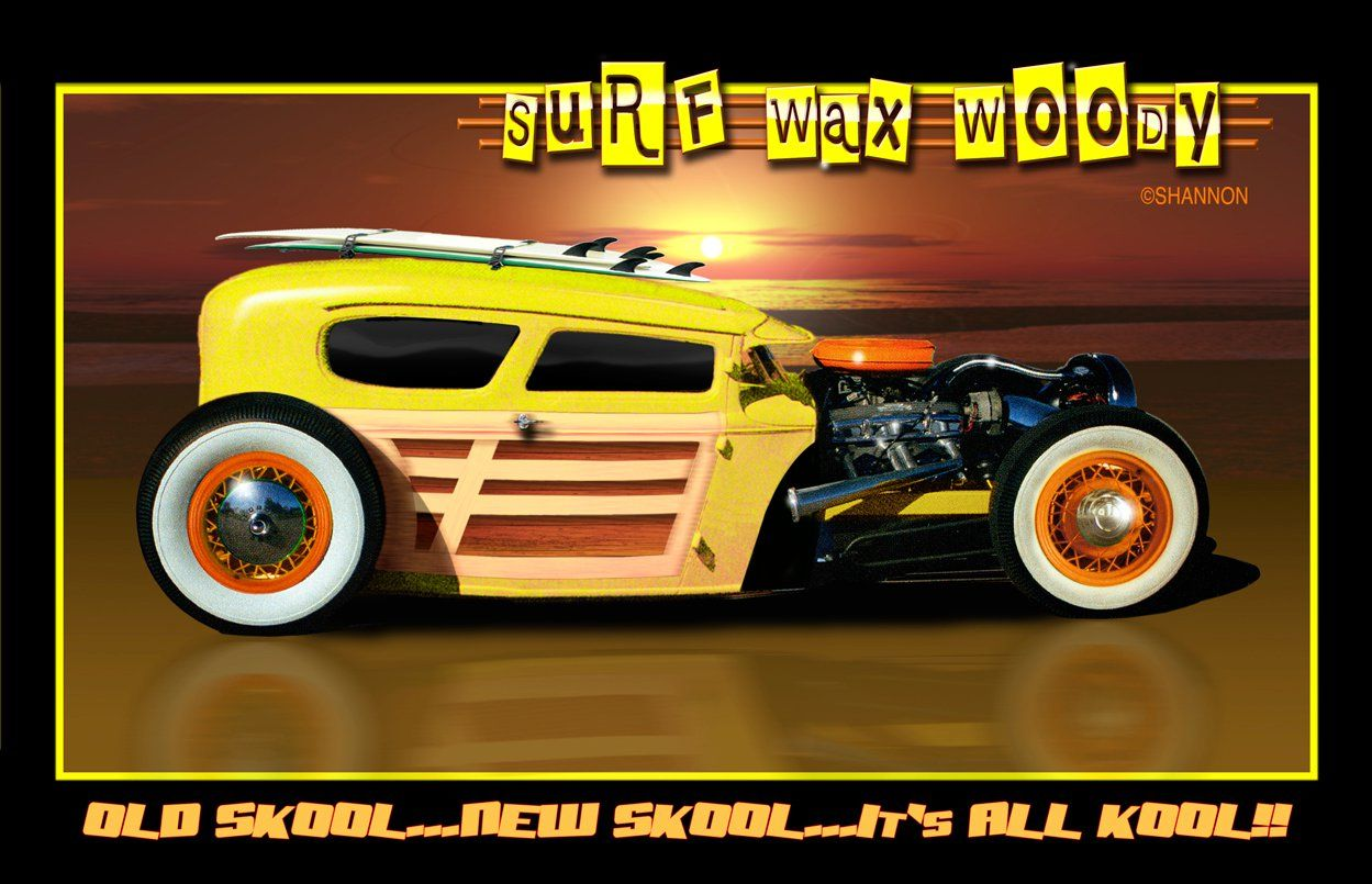"""SHANNON painted this """"Surf Wax Woody"""" for a hotrod"""