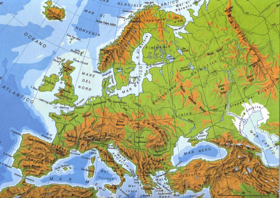 Cartina Europa Da Stampare.Cartina Europa Fisica Geografia Fisica Carte Geografiche