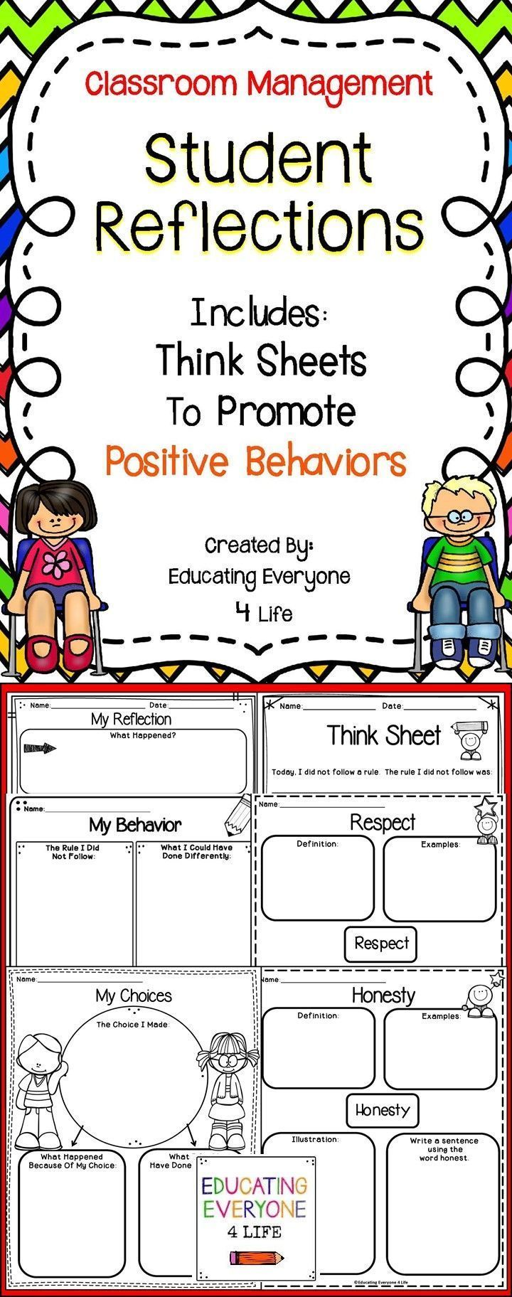 Classroom Management - Student Refelctions These student reflections help children take ownership o