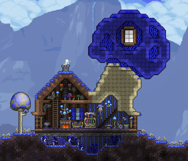 Truffle S House Made With Chad S Furniture Mod And Jenosis Furniture Food And Fun Mod Terraria House Design Terraria House Ideas Terrarium Base