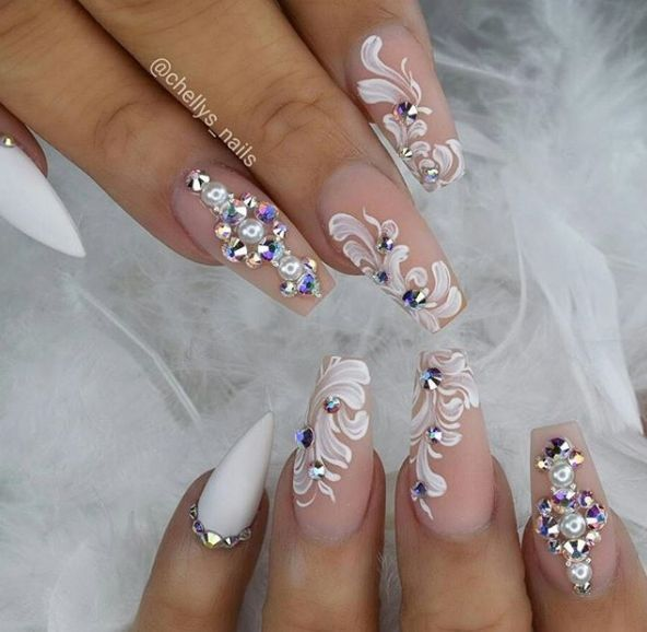 15 Acrylic Nail Designs Ideas You Will Love Reny Styles Luxury Nails Bling Nails Bride Nails