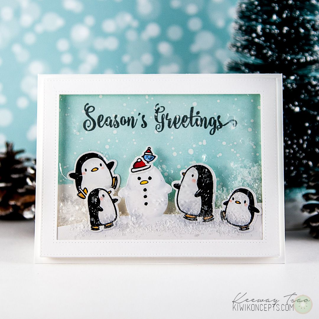 Snow Day with Penguins   Mama elephant, Cards and Christmas cards
