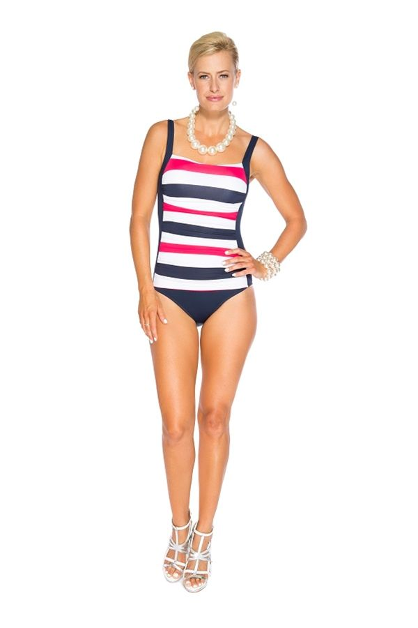 86fd00b9dde8f Bathing Suits · TOGS Tank Ruched Red Nautical Stripe
