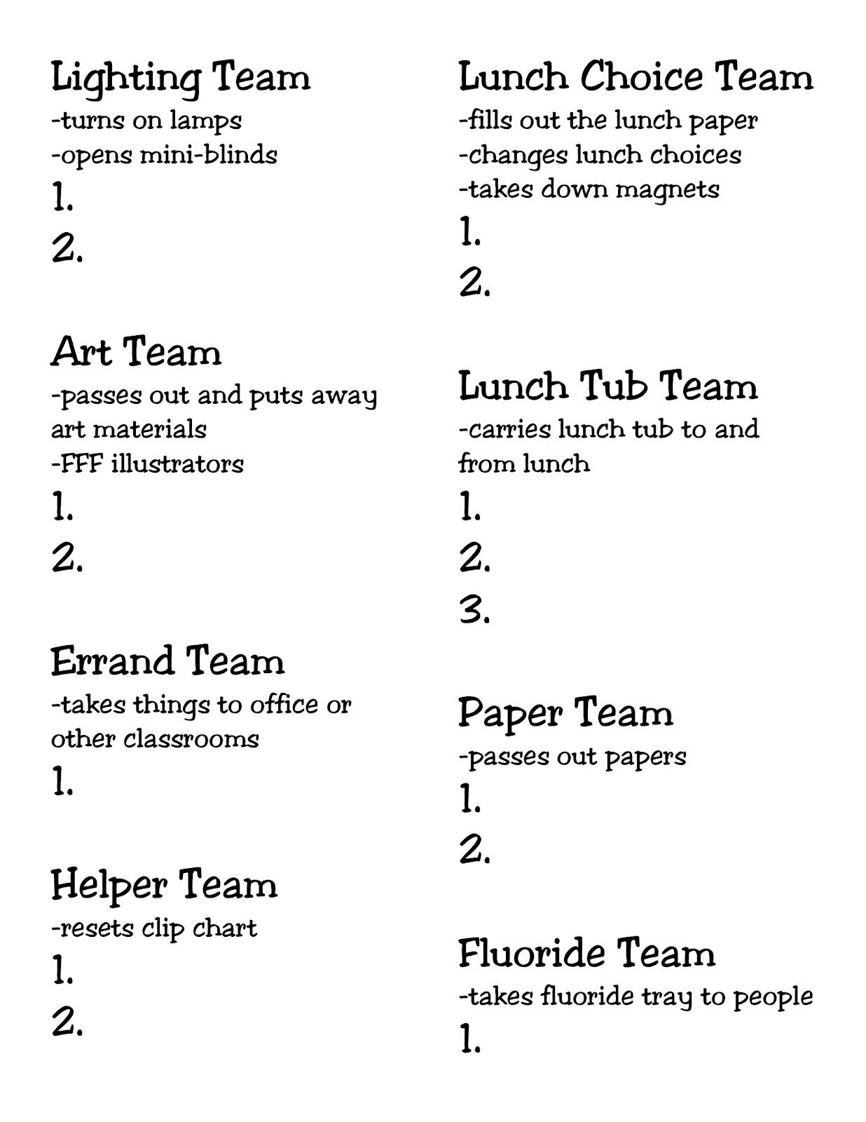 Neat Idea Classroom Jobs By Team
