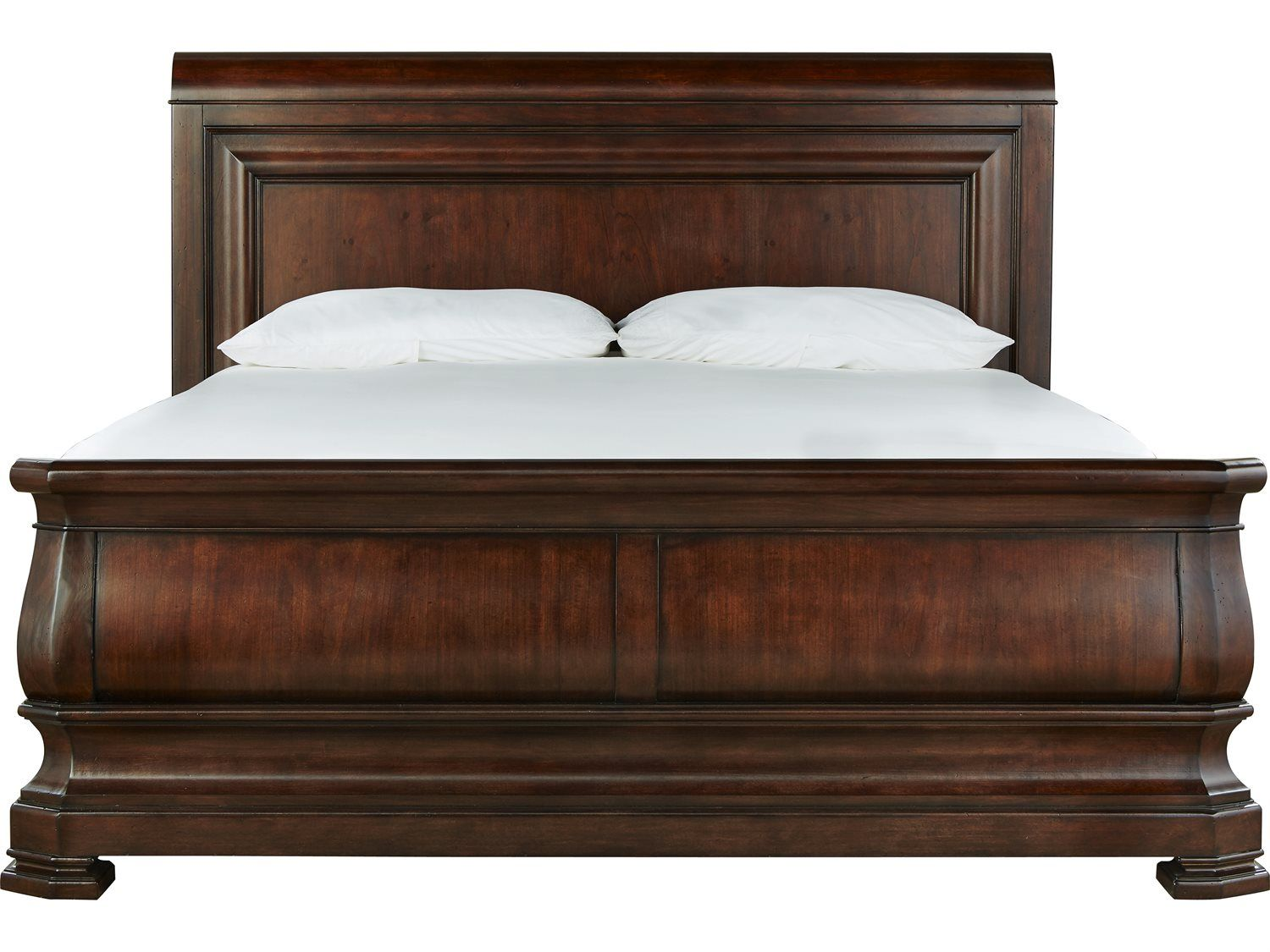 Rustic King Size Sleigh Bed With 2 White Cushion Camas Camas